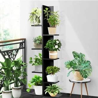 Brayden Studio 7-tier Bookshelf Bookcase Plant Display Shelf Rack Storage Holder Wooden Black Brayden Studio