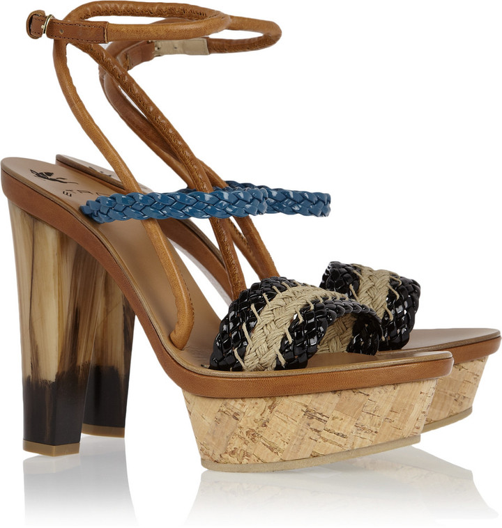 Etro Braided raffia and leather platform sandals