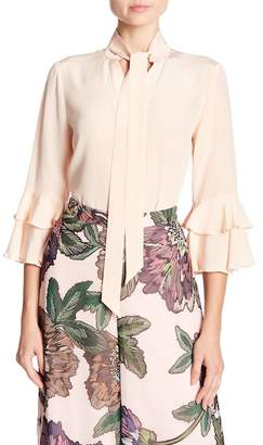 Badgley Mischka Tiered Ruffle Split Neck Silk Blouse