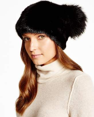 Maximilian Furs Maximilian Mink Hat with Fox Pom-Pom