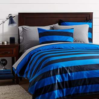 Pottery Barn Teen Rugby Stripe Duvet Cover, Navy/Bright Blue, Twin/Twin XL