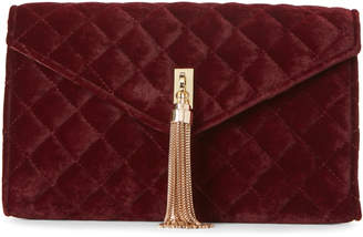 La Regale Burgundy Velvet Tassel Convertible Clutch