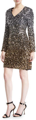 Aidan Mattox Ombre Sequin Long Sleeve V-Neck Dress