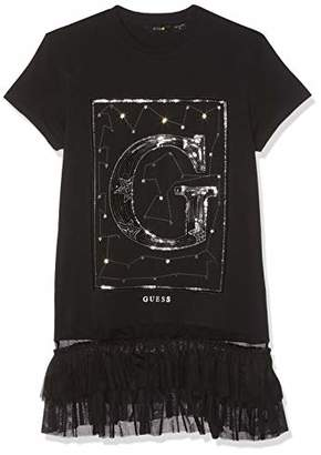 GUESS Girl's Ss T-Shirt Kniited Tank Top, (Jet Black A996 Jblk), (Size: 16)