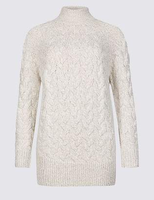 Marks and Spencer Cable Funnel Neck Longline Jumper