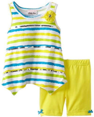 Little Lass Girls 2-6X 2 Piece Short Set With Stripes And Bow