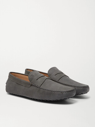 Tod's Gommino Suede Driving Shoes - Men - Gray