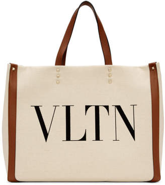 Valentino Off-White Garavani VLTN Canvas Tote