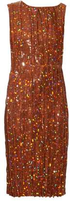 Nina Ricci Sequin Embellished Pleated Dress - Womens - Gold
