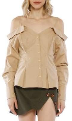 Off-The-Shoulder Cotton Button-Down Top