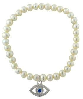 Lord & Taylor 6MM Freshwater Pearl and Sterling Silver Evil Eye Charm Stretch Bracelet