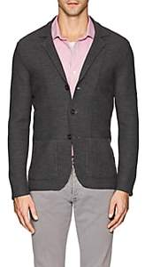 Isaia Men's Honeycomb-Knit Wool Cardigan - Gray
