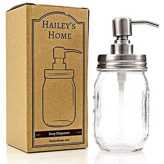 clear Ball Mason Jar Soap Dispenser - Metal Pump from Stainless Steel with Glass Jar for in Kitchen & Bathroom