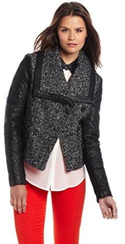 BCBGMAXAZRIA Women's Cassie Mixed Media Moto Jacket With Leather Sleeves