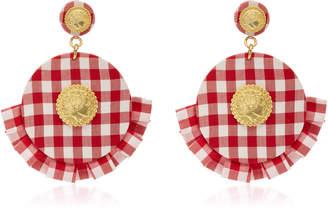 Checkered Circle Ruffle Earrings