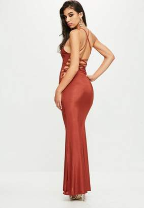 Missguided Orange Cowl Front Maxi Dress