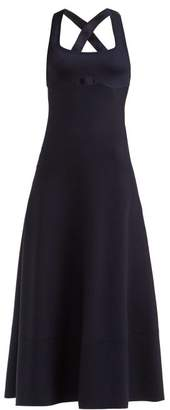 Gabriela Hearst Flores Square Neck Wool Blend Dress - Womens - Navy
