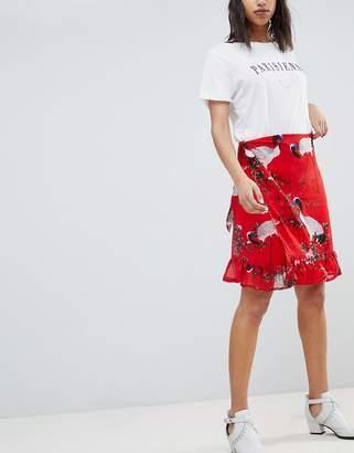 Sofie Schnoor exotic bird print wrap skirt