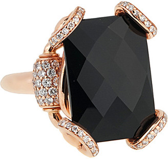 Gucci Heritage  18K Rose Gold 10.80 Ct. Tw. Diamond Onyx Horsebit Ring