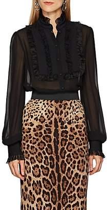 Dolce & Gabbana Women's Ruffled Bib-Front Silk Blouse - Black