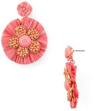 Aqua Raffia Floral Drop Earrings - 100% Exclusive