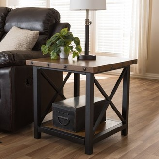 Baxton Studio Herzen Industrial Black Metal and Distressed Wood End Table