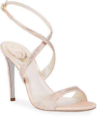 53038bc374a2 Rene Caovilla Crisscross Crystal Sandals