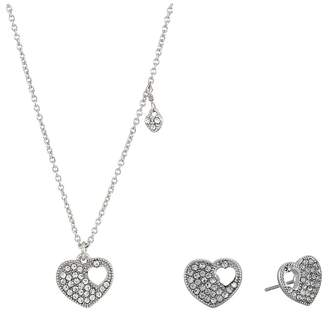 Betsey Johnson Blue by Crystal and Silver Tone Heart Pendant Necklace with Matching Heart Stud Earrings, Includes Set of Neckalce an...