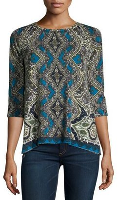Neiman Marcus Cashmere Collection Medallion Half-Sleeve Cashmere Sweater $340 thestylecure.com