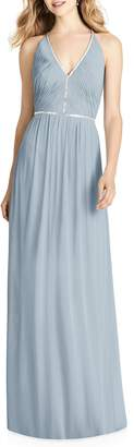 Jenny Packham Pleated Bodice Chiffon Gown
