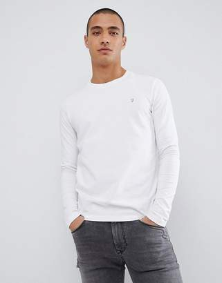 Farah Southall super slim fit logo long sleeve t-shirt in white