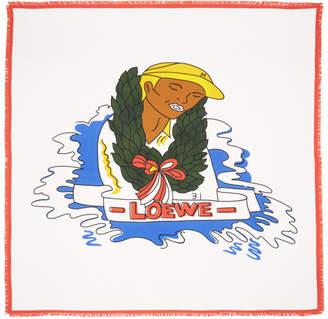Loewe White Silk Holiday Logo Scarf