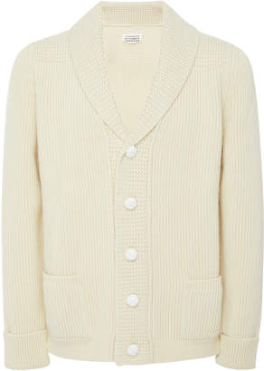 Maison Margiela Shawl Neck Rib-Knit Wool Cardigan