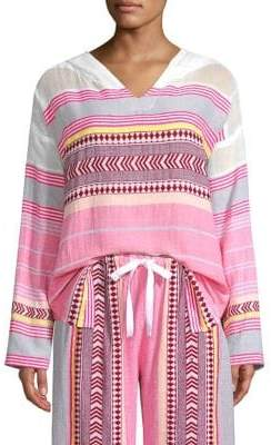 Lemlem Luchia Stripe Long-Sleeve Hoodie Tunic