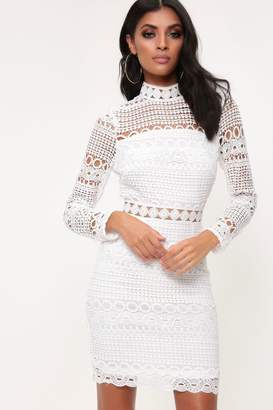 a1f4fd1af706d I SAW IT FIRST White High Neck Crochet Lace Dress