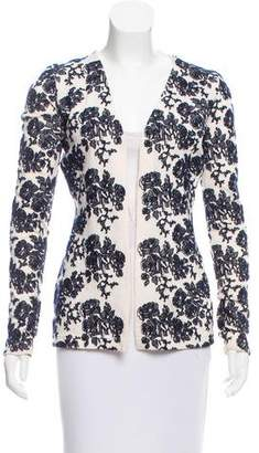 Oscar de la Renta Embroidered Open Front Sweater