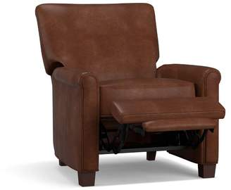 Pottery Barn Irving Roll Arm Leather Power Recliner