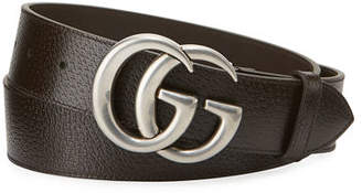 204a88dc943 Gucci Men s Leather Belt with Silvertone Double-G Buckle