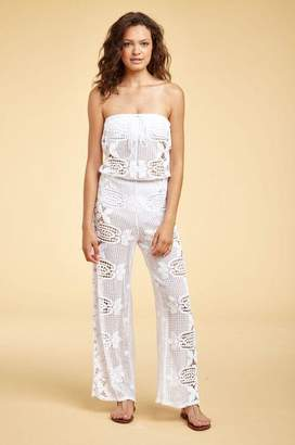 Miguelina Piper Tropical Scallop Lace Jumpsuit - Pure White