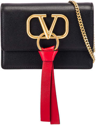 Valentino VLogo Ribbon Crossbody Bag in Black & Red | FWRD