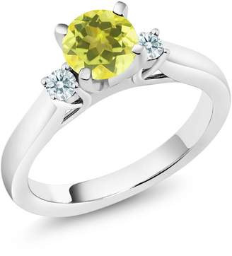 Swarovski Gem Stone King 1.22 Ct Canary Mystic Topaz Zirconia 925 Sterling Silver 3-Stone Ring