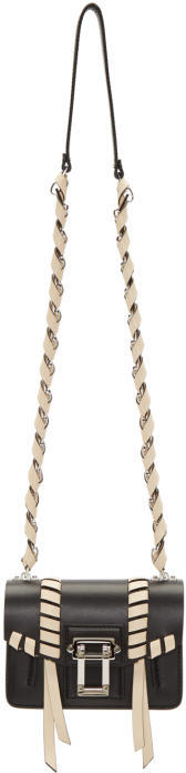 Proenza Schouler Black and Ivory Whipstitched Hava Chain Bag