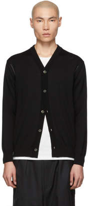 Comme des Garcons Homme Black and Grey Worsted Wool Intarsia Cardigan