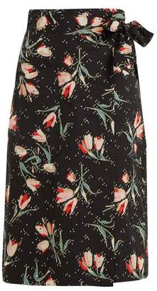 Rebecca Taylor Ikat Tulip Print Wrap Skirt - Womens - Black Print