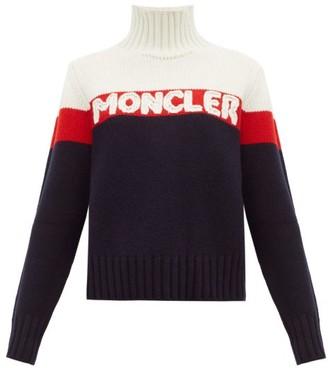 Moncler Logo Jacquard Striped Wool Blend Sweater - Womens - Cream Multi