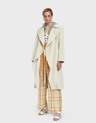 Aalto Trench Coat with Sweatshirt Hood in Beige