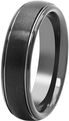 Brilliance+ Brilliance Fine Jewelry Mens Black Tungsten 6MM Comfort Fit Domed Wedding Band - Mens Ring