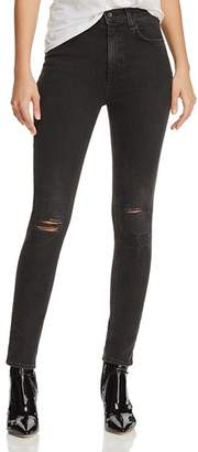 Rag & Bone High-Rise Distressed Ankle Skinny Jeans in Rock With Holes