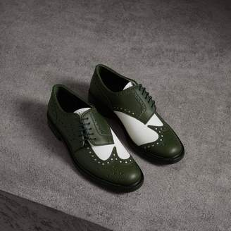 Burberry Two-tone Asymmetric Closure Leather Brogues