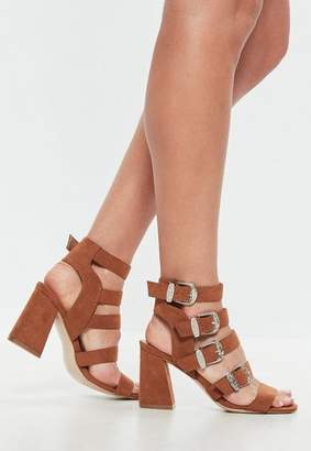 Missguided Brown Multi Western Buckle Block Heel Sandals